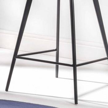 4 ben base afføring, H 65 i faux læder med faux læder effekt - Ovid