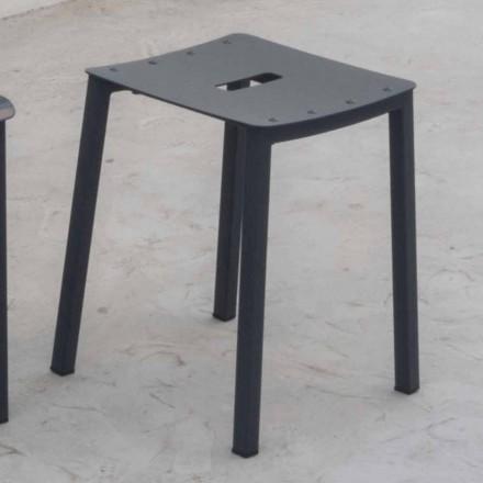 Moderne udendørs stabelbar lav afføring i aluminium fremstillet i Italien - Dobla