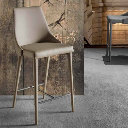Moderne designskammel med ryglæn og metalbase - Berenice