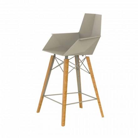 Køkkenstol med armlæn i træ og plast - Faz Wood af Vondom
