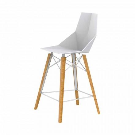 Design køkkenstol i træ og plastik forskellige farver - Faz Wood af Vondom