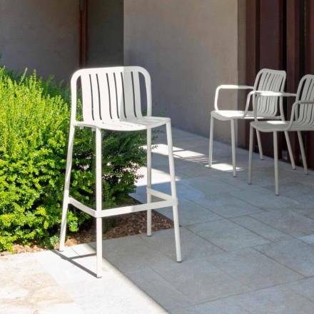 Trocadero moderne udendørs stabelbar fæces af Talenti, i aluminium