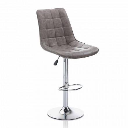 Designskammel med kunstlæder sæde og kromstruktur, 2 stykker - Chiotta