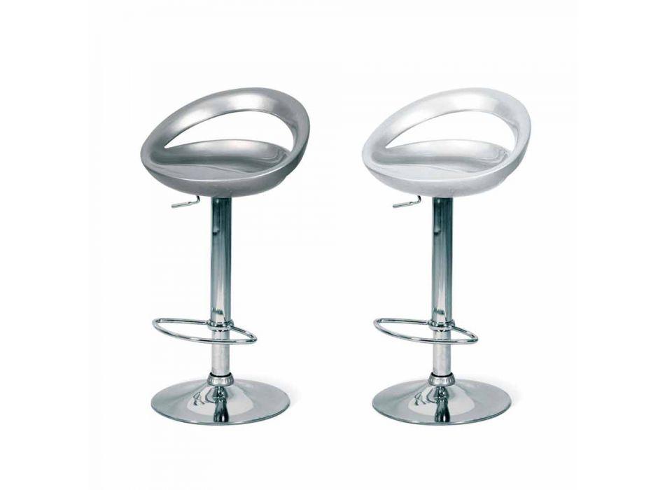 Designskammel med ABS-sæde og Pollina-forkromet struktur