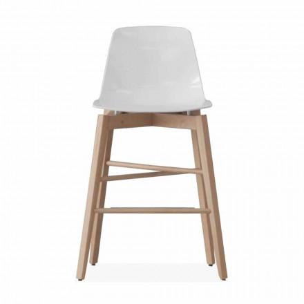 Taburet i egetræ og hvidlakeret sæde med moderne design - Langoustine