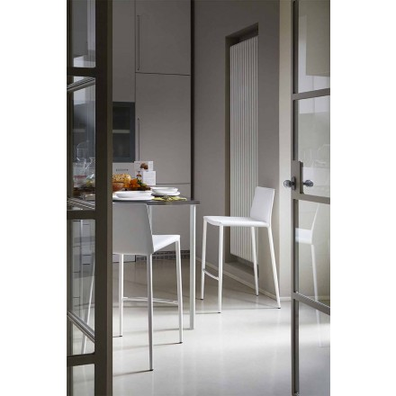 Moderne bar- eller køkkenafføring i metal og limet læder - Boheme