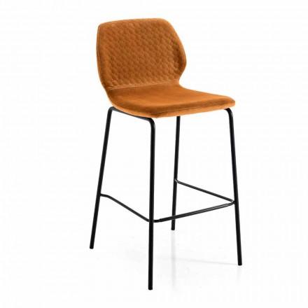 Moderne design farvet quiltet velour køkkenstol - Scarat