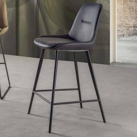 Moderne afføring H 80 cm, sæde i Eco-læder Nabuk - Ines