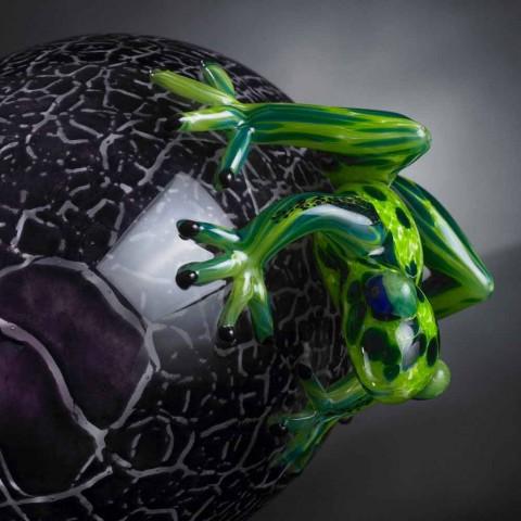 Æggeformet ornament med frøer i farvet glas fremstillet i Italien - Huevo