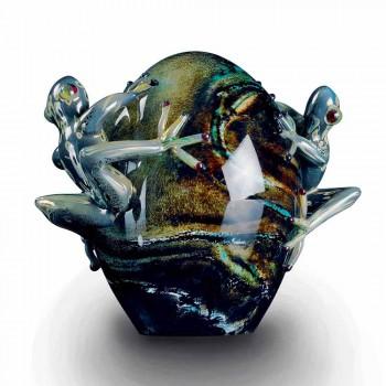 Æggeformet glaspynt med frøer lavet i Italien - Huevo