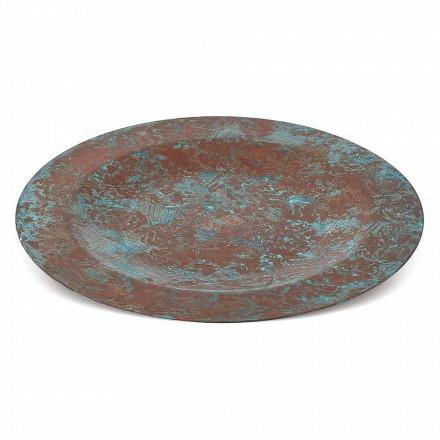 Håndtinnet grøn eller brun kobberplade 31 cm 6 stykker - Rocho