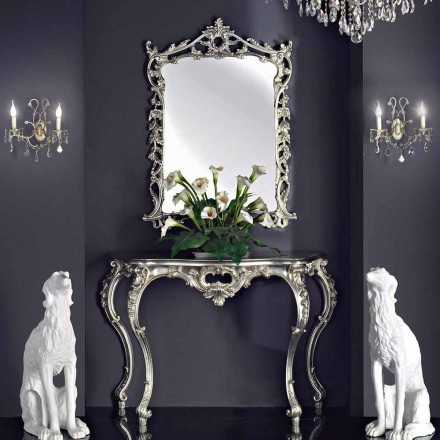 Væg spejl, træ konsol og håndlavede klaver i Italien Giacomo