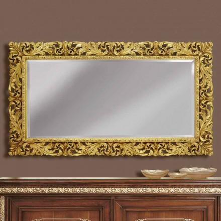 Trævæg spejl med moderne linjer håndlavet i Italien Alex