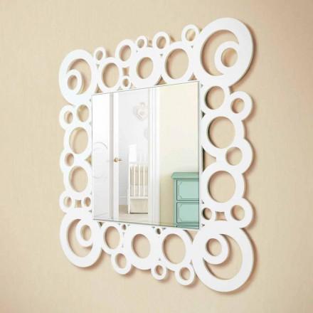 Hvid firkantet væg spejl moderne design med træ dekorationer - boble
