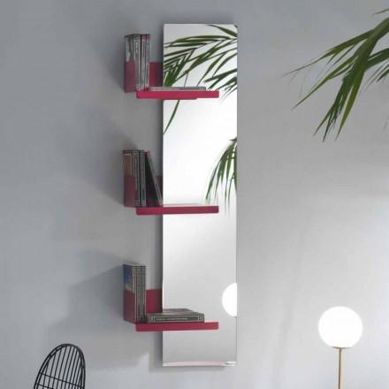 Vægspejl og 3 hylder i luksuriøst design farvet metal - Noelle