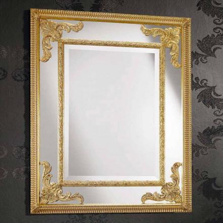 Væg spejl i rektangulært træ produceret i Italien af Valentino