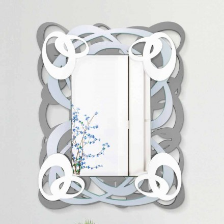 Moderne rektangulært farvet væg spejl i træ - Amalga