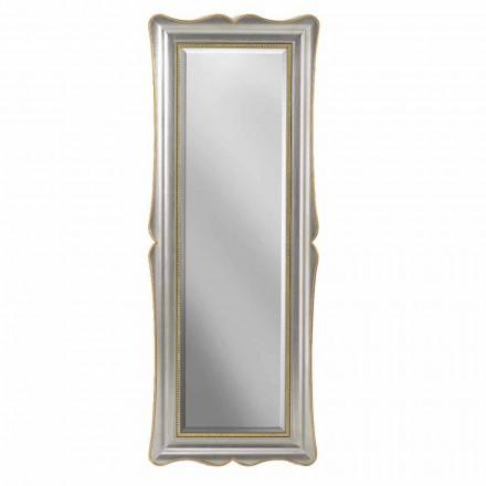 Sølv, elfenben og guld trævæg spejl lavet i Italien Vittorio
