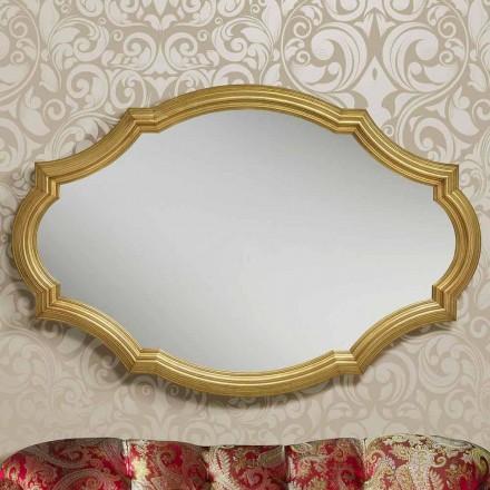 Moderne sølv eller guld væg spejl lavet af træ lavet i Italien Davide