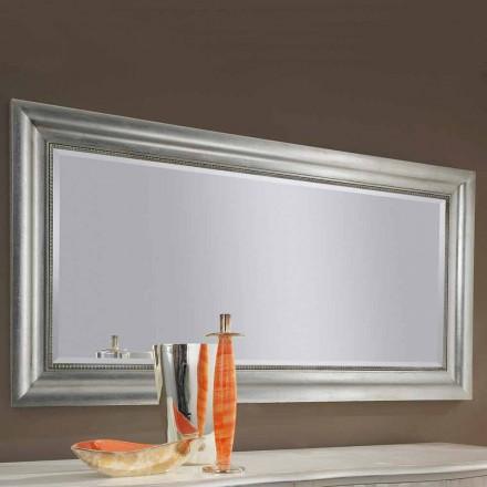 Sølv væg spejl, guld træ håndlavet i Italien Alessandro