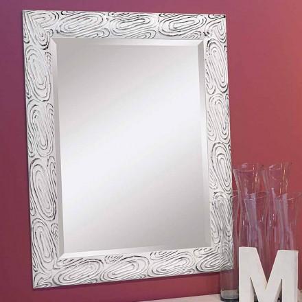 Guld, hvidt og sølvvægspejl lavet af træ Eugenio lavet i Italien