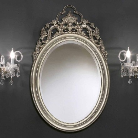 Sølv ovalt vægspejl, håndlavet guld produceret i Italien Giorgio