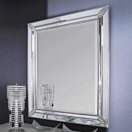 Sølv væg spejl, guld træ håndlavet i Italien Samuele