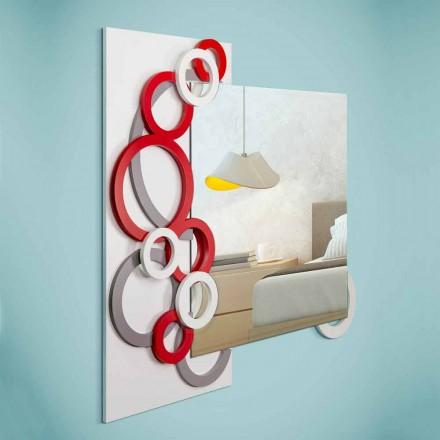 Hvid rød grå moderne design væg spejl i træ - illusion
