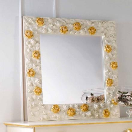 Spejl designer væg dekoreret med roser blomst