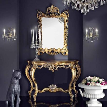 Trævæg spejl og mdf lavet i Italien Andrea konsol bordplade