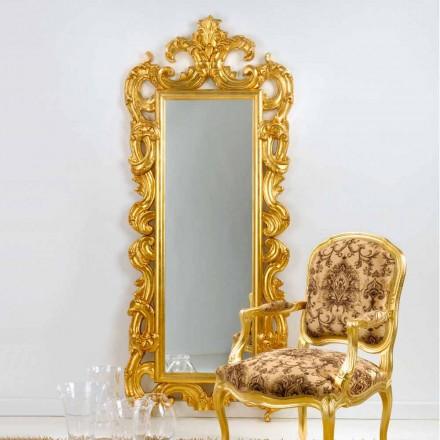 Spejl gulv / væg klassisk design, bladguld færdig Guerin