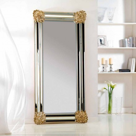 Spejl gulv / væg design, ramme Luti træ, 96x196 cm