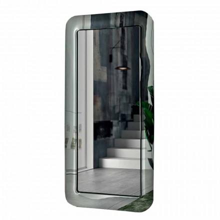 Lang rektangulær spejl med krystaleffektramme fremstillet i Italien - sløjfe