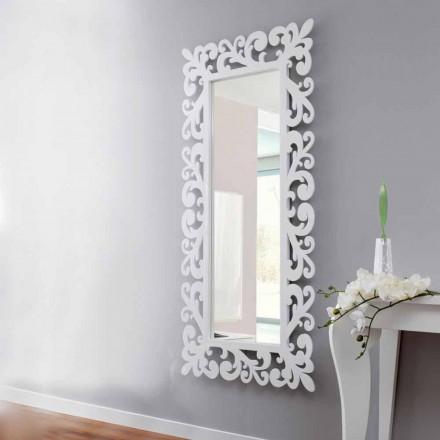 Stort rektangulært designvægspejl i moderne hvidt træ - Cortese
