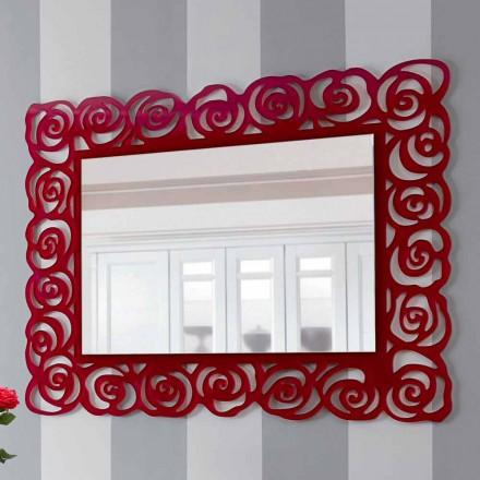 Stort moderne væg spejl i rødt pleksiglas - Rosalinda
