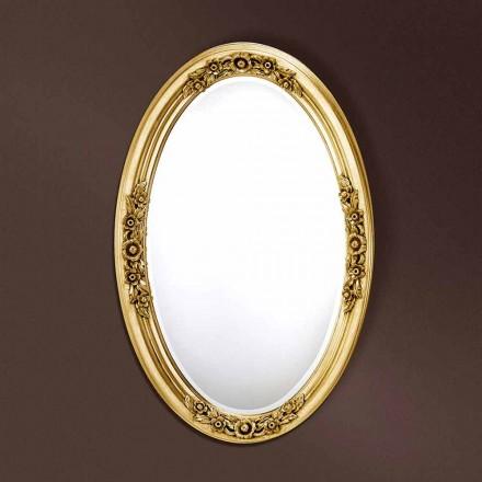 Moderne ovalt træ spejl håndlavet i Italien Federico