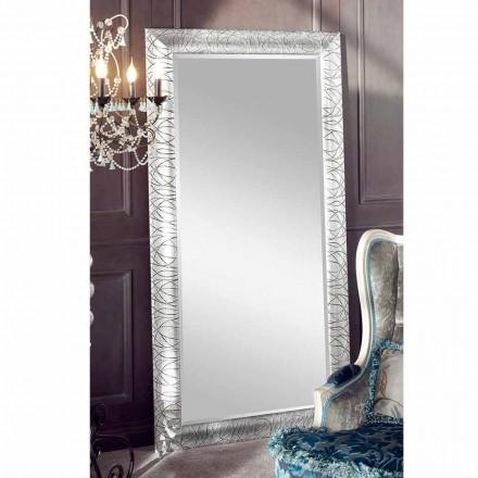 Rektangulært væg spejl lavet af gran træ lavet i Italien Achille