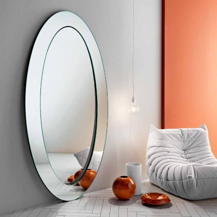 Moderne oval fritstående spejl med skråtstillet stel fremstillet i Italien - Salamina