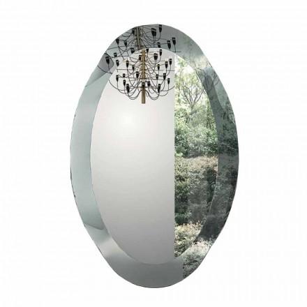 Oval vægspejl i krystalbølget glas fremstillet i Italien - Eclisse