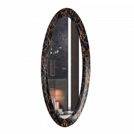 Lang oval vægspejl med marmoreffektramme fremstillet i Italien - Denisse