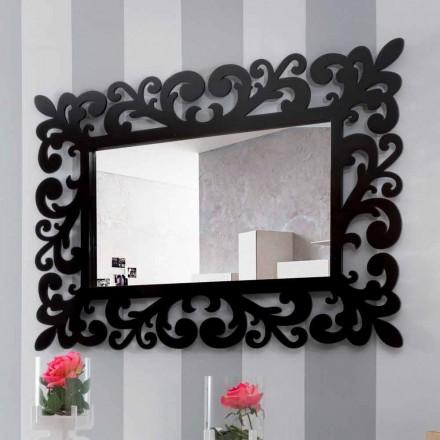 Stort moderne design rektangulært væg spejl i sort træ - Manola