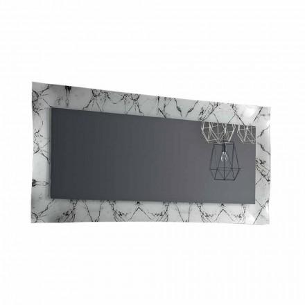 Rektangulært design spejl med glasramme fremstillet i Italien - Eclisse