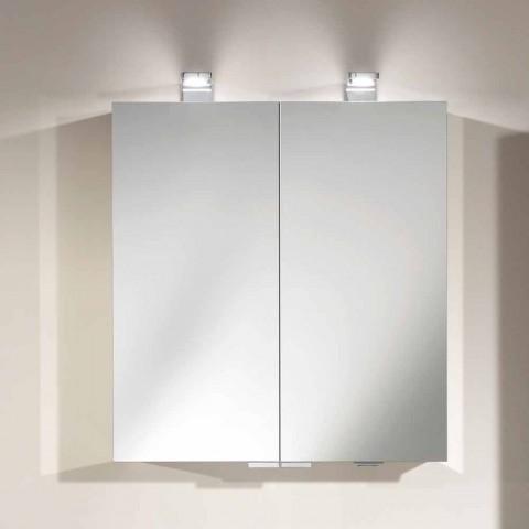 2-dørs spejl med sølv aluminiumsbeholder og detaljer i krom - Maxi