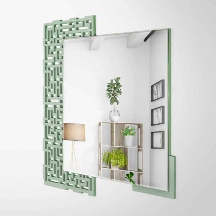 Vægspejl i moderne firkantet design i dekoreret grønt træ - labyrint