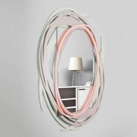 Moderne væg spejl med dekorativt design i farvet træ - Orbit