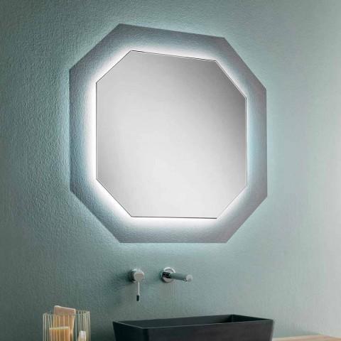 Moderne design vægspejl med glasramme og integreret led - Vitozzo