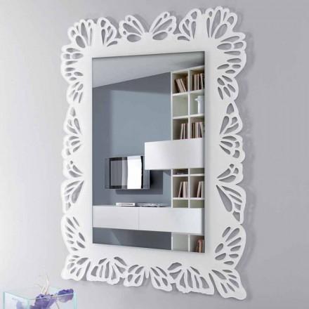 Hvid spejl i spejlglas med dekoreret rektangulær ramme - Alidifarf