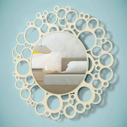 Rundt væg spejl i brunt træ af moderne design med ramme - humle