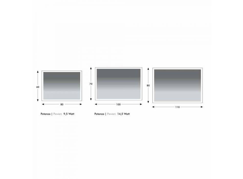 Badeværelsesspejl i imiteret aluminium med baggrundslys Made in Italy - Palau
