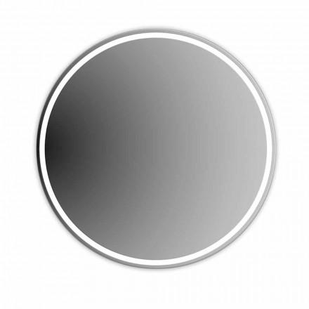 Rundt baggrundsbelyst spejl med sandblæsning Made in Italy - Ranio